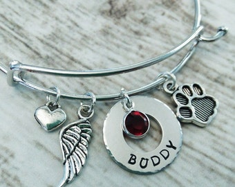 Personalized Pet Memorial Bangle, In Memory of Bangle, Wire Bracelet, Loss of Pet, Remembrance Bracelet,Dog Bracelet, Cat Memorial Bangle