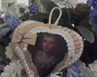 HEART cushion hanging shabby chic and child portrait