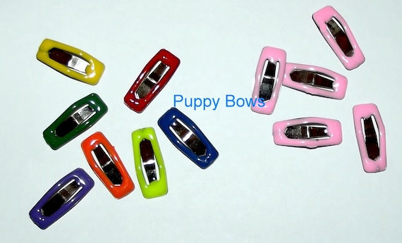 Puppy Bows ~Barrette snap clip TINY RECTANGLES girl and boy colors shape bow dog Maltese white pink multi ~Usa seller