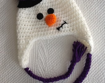 Snowman Hat with Top Hat and Earflaps, Crochet Baby Hat, Snowman Hat, Baby Hat, Newborn Hat, Baby Girl Hat, Baby Boy Hat, Photo Prop