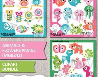 Animals clipart pastel colors, commercial use / Animals and flowers pastel bundle clip art / owls, sea animals, woodland / digital images