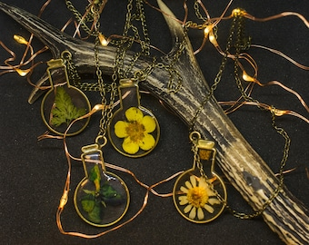 Potion Necklace dried flowers epoxy resin