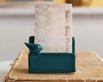 Little Bird Verical Business Card Holder - Dark Teal - Modern Office Decor - MADE TO ORDER
