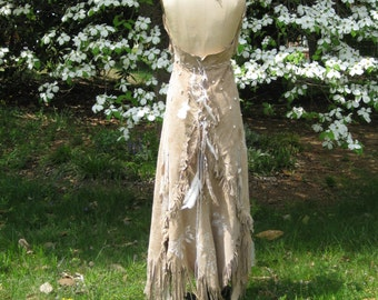 White Leather Wedding Dress Native American Inspired Boho