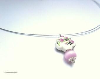 Short Flower necklace pink necklace