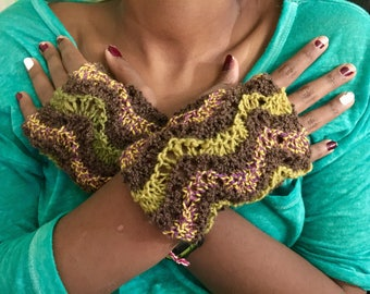 Hand knit hand warmers in a gorgeous textural wave pattern, knit in shades of chocolate and moss wool