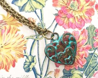 Patina heart necklace, filigree heart jewelry - Valentine gift