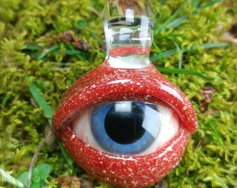 Bloodshot Red Blizzard Eye Pendant