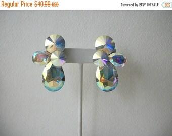 ON SALE Vintage Massive JON Michelle Iridescent Glass Clip On Earrings 72717
