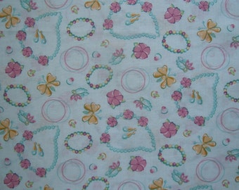 44 X 36 Aqua Rose and Gold Jewelry Print Cotton Poly Fabric Yardage Remnant