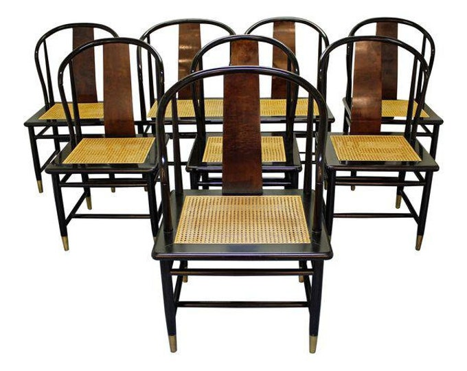 Set of 8 Mid-Century Asian Modern Henredon Black Lacquer Cane Dining Chairs