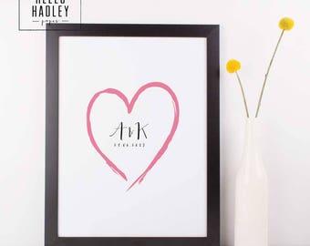 Personalised brush heart print, A4, digital download