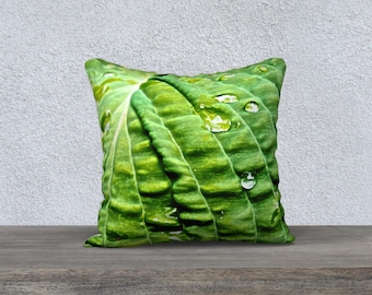 Garden Pillow: Hosta Leaf, modern home decor, green, vibrant, earthy, dew drops, fresh, spring, throw pillow