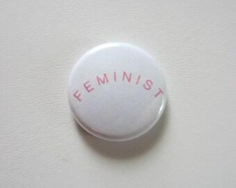 Feminist pinback button badge