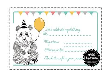 """PDF/Carte d'invitation d'anniversaire """"panda"""" à imprimer"""