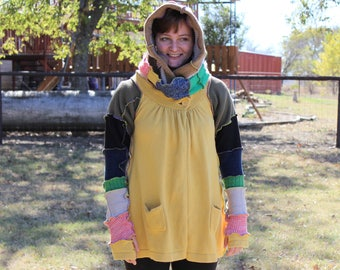 Recycled Sweater Cape Hoodie for Women Size Small- Medium- Large/ OOAK/ Upcycled Sweater Coat