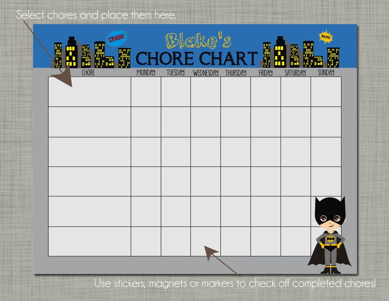 Personalized Kids Chore Reward Chart Printable Sized 8.5 x