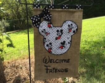 Mickey Inspired Disney Inspired  Burlap Garden Flag Door Hanger Welcome Sign