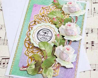Friend Birthday Card, Handmade Birthday Card, Birthday Card for Her, Floral Card, Gift for Her, Feminine Birthday Card, Anna Griffin Card