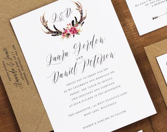 Whimsical Antler Wedding Invitation - Floral Antler Rustic Wedding Invites - Sample Pack or Deposit - Wedding Invitations by Pineapple