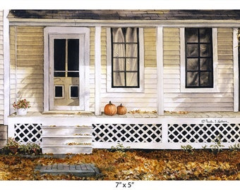 House with Pumpkins on Front Porch — Watercolor Giclee art print