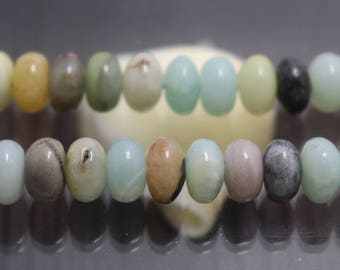 Multicolor Amazonite, Smooth  Rondelle Beads, 15 Inch Full Strand ( 4x6mm 5x8mm )