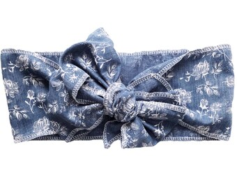 Floral Denim Head Wrap