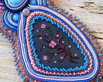 Soutache necklace, pink necklaces, soutache jewelry