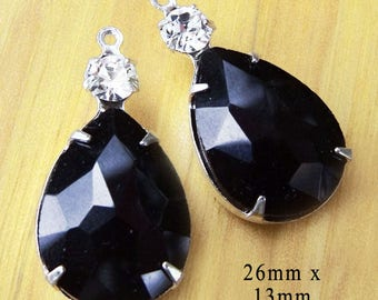 Black glass teardrop earring or pendant jewels - 26x13mm - opaque black teardrops paired with tiny rhinestones in Duo settings - One Pair