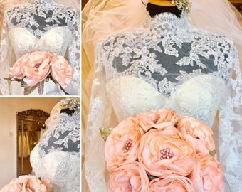 Vintage Style Wedding Bridal Brooch Bouquet - Peach Duchess Satin Flowers, Rhinestone & Rose Gold Clustered Embellishments - PEACH PERFECT