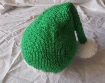 Christmas Elf Bobble Hat / Festive / Noel / Crimbo / Xmas / Hand Knitted, Pom Pom, Green, Fancy Dress, Winter, Baby / Toddler / Child Size