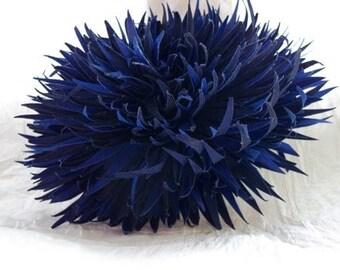 Navy or Light Blue Chrysanthemum Silk Flower Brooch and/or Hair Clip