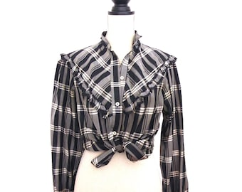 Vintage 70s Blouse from Galeries Lafayette, Dupioni, Plaid, Tartan, Galeries Lafayette, 1970s Blouse, Shantung, Victorian Style, Ruffle