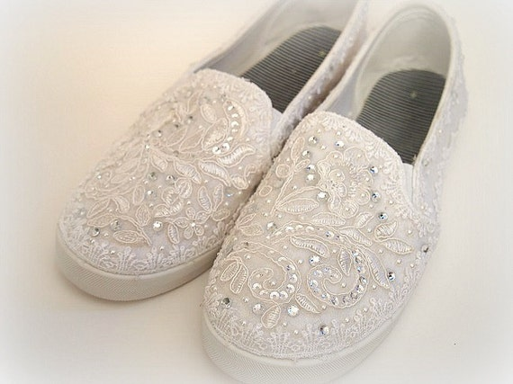 wedding tennis shoes wedding bridal flat tennis shoes chic white lace 1194