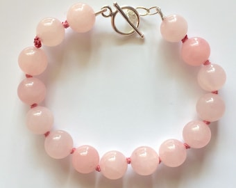 Pink Quartz 10mm Bead Silk Knotted Bracelet with Sterling Silver Toggle Clasp