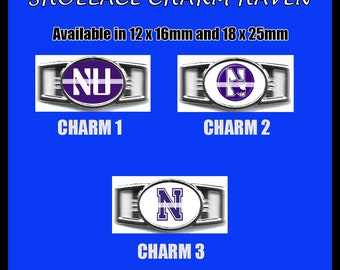 NORTHWESTERN Shoelace Charm  Paracord Bracelet Charm Oval Charm 12 x 16mm or 18 x 25mm Charms