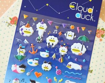 Cloud Duck cartoon puffy stickers