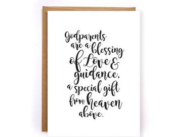 baptism gift for godparents, fathers day, mothers day godparent gift, wedding gift, groom, asking godparents, blank greeting card GC247