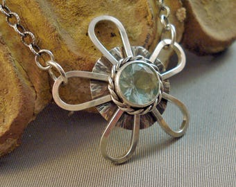 "Sterling Silver Flower pendant with faceted blue green Insulator Glass and sterling chain 26"" long"