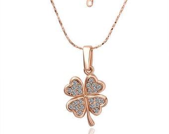 Rose GOLD Filled Four Leaf Clover Pendant Necklace With Swarovski Crystal