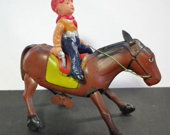 Rare Antique Windup Toy, Cowboy On Horse Windup Toy, Occupied Japan, circa 1950's