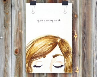 On My Mind / Handmade Watercolor Greeting Card / Thinking of You