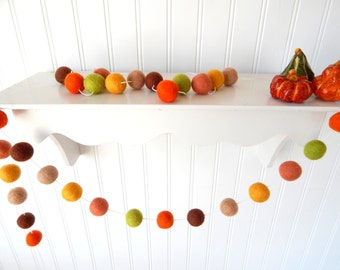 Autumn Garland, Fall Garland, Fall Decoration, Thanksgiving Garland, Felt Ball Garland, Halloween Decor Autumn Decor, Pumpkin, Thanksgiving