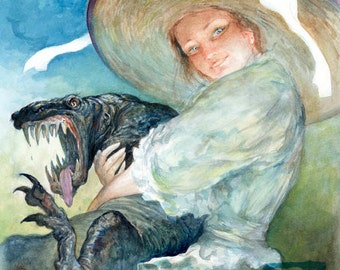 Oh So Huggable (print) - woman, pet, monster, lizard, hug, watercolor, artwork, illustration