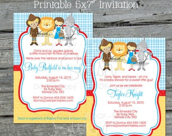 Wizard of Oz BABY SHOWER  Invitation | Wizard of Oz Party | Tin Man Cowardly Lion Scarecrow Dorothy | Digital Download Printable Invite