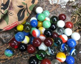 Vintage Marble Collection in Vintage Handmade Fabric Bag - Assorted Colors - Vintage Glass - Vintage Toy - Vintage Game