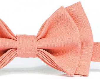 Salmon Coral Bow Tie (Peach Coral Bow Tie) & Pocket Square for Baby Toddler Boy Men