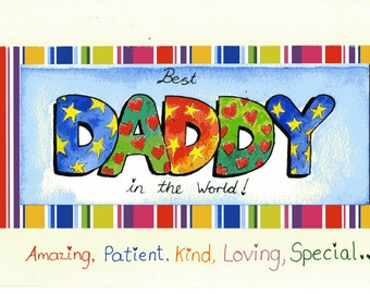 Daddy birthday card etsy a card for daddy original watercolour cardthe best daddy in the world bookmarktalkfo Images