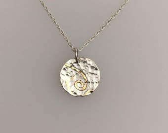 Sterling Silver and 18ct gold hammered pendant