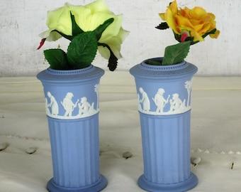 Small couple pair Vases Wedgwood Jasperware Baby Blue Lavendel Cherubs Angels